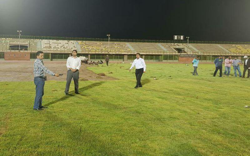 بازدید مسئول برگزاری مسابقات لیگ یک از ورزشگاه باهنر برای تائید نهایی