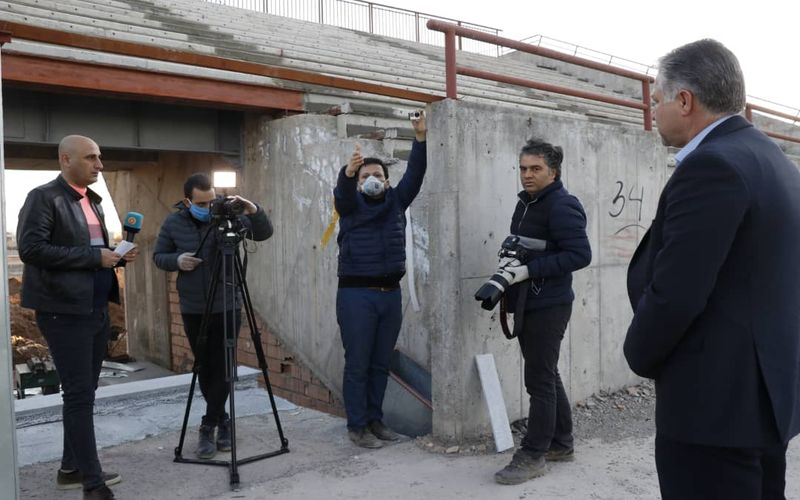 حضور عوامل برنامه لیگ یک شبکه ورزش برای تهیه گزارش از تیم فوتبال مس کرمان(عکس)